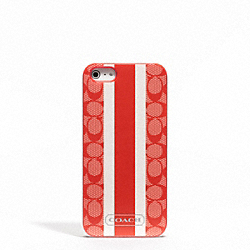 COACH F65904 Signature Stripe Pvc Stripe Iphone 5 Case VERMILLION/VERMILLION