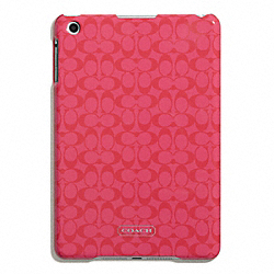 COACH EMBOSSED LIQUID GLOSS MOLDED MINI IPAD CASE - SILVER/CORAL - F65946
