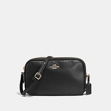 COACH f65988 CROSSBODY POUCH IN PEBBLE LEATHER IMITATION GOLD/BLACK