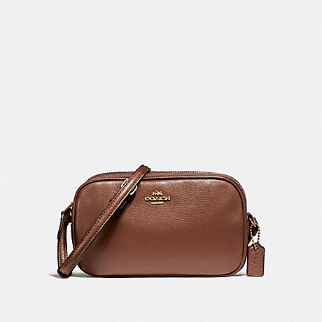 COACH f65988 CROSSBODY POUCH IN PEBBLE LEATHER LIGHT GOLD/SADDLE 2