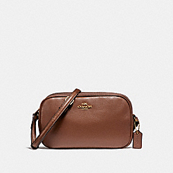 CROSSBODY POUCH IN PEBBLE LEATHER - f65988 - LIGHT GOLD/SADDLE 2