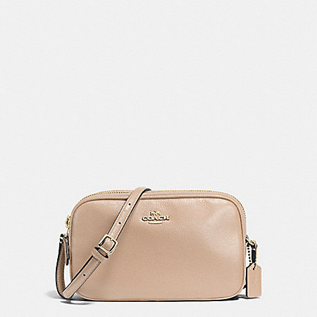 COACH f65988 CROSSBODY POUCH IN PEBBLE LEATHER IMITATION GOLD/BEECHWOOD