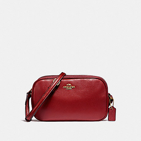 COACH f65988 CROSSBODY POUCH LIGHT GOLD/DARK RED