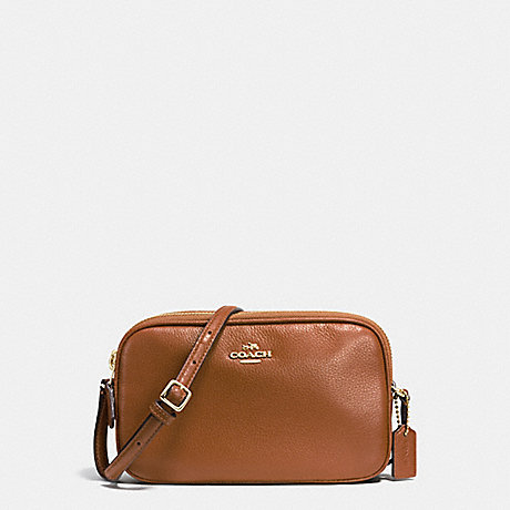 COACH f65988 CROSSBODY POUCH IN PEBBLE LEATHER IMITATION GOLD/SADDLE