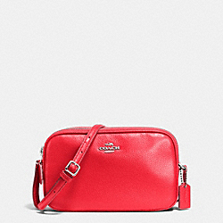 CROSSBODY POUCH IN PEBBLE LEATHER - f65988 - SILVER/BRIGHT RED