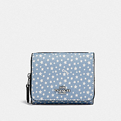 COACH F65995 - SMALL TRIFOLD WALLET WITH DITSY STAR PRINT BLUE MULTI/SILVER