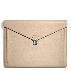 COACH F66000 Crosby Box Grain Leather Portfolio SANDSTONE