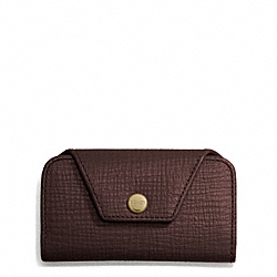 COACH F66004 Crosby Box Grain Leather 4-ring Keycase BRASS/CORDOVAN
