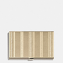 COACH F66005 Crosby Business Card Case In Engraved Metal Ticking Stripe  GOLD