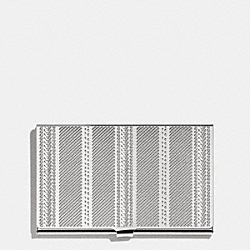 COACH F66005 - CROSBY BUSINESS CARD CASE IN ENGRAVED METAL TICKING STRIPE  NICKEL