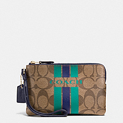 COACH F66052 Coach Varsity Stripe Corner Zip Wristlet In Signature IMITATION GOLD/KHAKI/MIDNIGHT