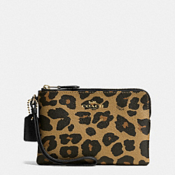 COACH F66053 Corner Zip Small Wristlet In Leopard Print Coated Canvas IMITATION GOLD/NATURAL