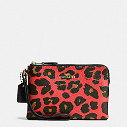 COACH F66053 Corner Zip Small Wristlet In Leopard Print Coated Canvas IMITATION GOLD/WATERMELON