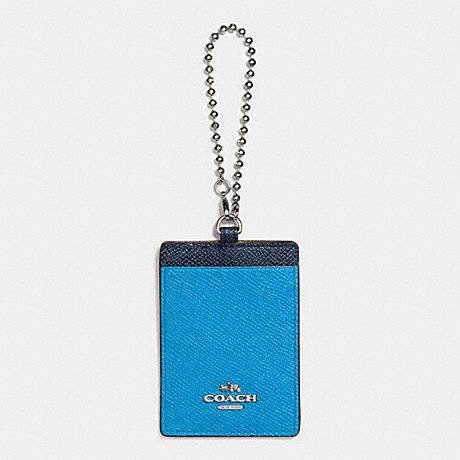 COACH f66091 ID HOLDER IN COLORBLOCK LEATHER SILVER/AZURE/NAVY