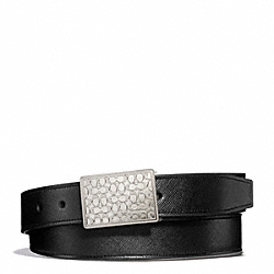 COACH F66106 Signature Plaque Textured Leather Cut To Size Reversible Belt