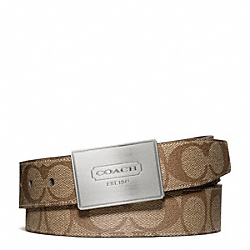 COACH LOZENGE PLAQUE COACH HERITAGE STRIPE CUT TO SIZE REVERSIBLE BELT - SILVER/KHAKI/BROWN - F66111