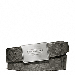 COACH F66111 - LOZENGE PLAQUE COACH HERITAGE STRIPE CUT TO SIZE REVERSIBLE BELT SILVER/GREY/CHARCOAL