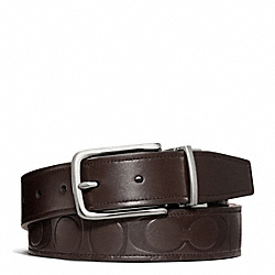 COACH F66125 Harness Signature Embossed Leather Cut To Size Reversible Belt SILVER/MAHOGANY/MAHOGANY