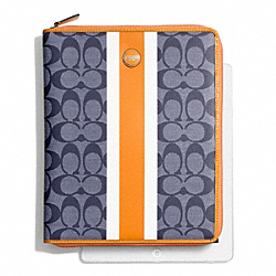 COACH F66129 Signature Stripe Pvc Stripe Zip Ipad Case