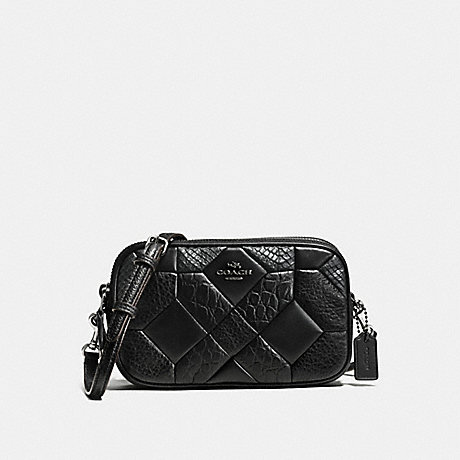COACH f66140 CROSSBODY CLUTCH IN EXOTIC EMBOSSED CANYON QUILT LEATHER BLACK