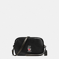 MICKEY CROSSBODY CLUTCH IN GLOVETANNED LEATHER - f66150 - DARK GUNMETAL/BLACK