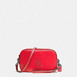 MICKEY CROSSBODY CLUTCH IN GLOVETANNED LEATHER - f66150 - DARK GUNMETAL/1941 RED