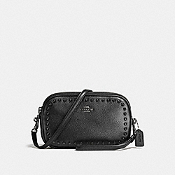 CROSSBODY CLUTCH WITH LACQUER RIVETS - f66154 - ANTIQUE NICKEL/BLACK