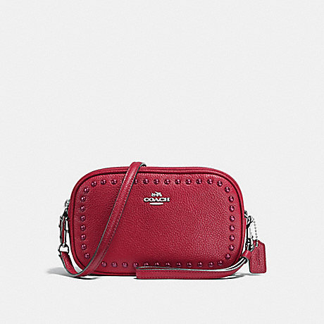 COACH f66154 CROSSBODY CLUTCH IN PEBBLE LEATHER WITH LACQUER RIVETS SILVER/RED CURRANT