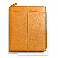 COACH F66157 Park Leather Zip Ipad Case BRASS/ORANGE SPICE