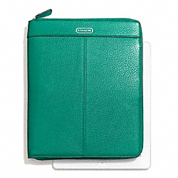COACH F66157 Park Leather Zip Ipad Case SILVER/BRIGHT JADE