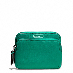 COACH F66179 Park Leather Double Zip Coin Wallet SILVER/BRIGHT JADE
