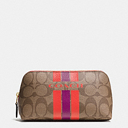 COACH VARSITY STRIPE COSMETIC CASE 17 IN SIGNATURE - f66193 - IMITATION GOLD/KHAKI/WATERMELON