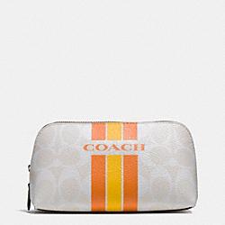 COACH F66193 Coach Varsity Stripe Cosmetic Case 17 In Signature SILVER/CHALK ORANGE