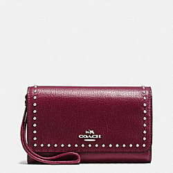 COACH F66194 Rivets Phone Wristlet In Grain Leather SILVER/BURGUNDY
