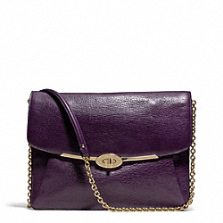 COACH F66215 Madison Leather Ipad Crossbody LIGHT GOLD/BLACK VIOLET