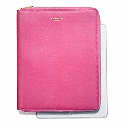 COACH F66262 Saffiano Leather  Zip Around Ipad Case BRASS/PINK
