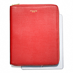COACH F66262 Saffiano Leather  Zip Around Ipad Case LIGHT GOLD/LOVE RED
