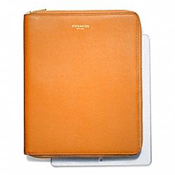 COACH F66262 Saffiano Leather  Zip Around Ipad Case LIGHT GOLD/BRIGHT MANDARIN
