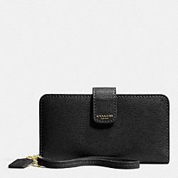 COACH F66265 Saffiano Leather Phone Wallet  BRASS/BLACK