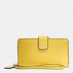 COACH F66265 Phone Wallet In Saffiano Leather  LIGHT GOLD/SAFFRON
