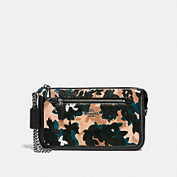 COACH F66301 - NOLITA WRISTLET 24 WITH SCATTERED LEAF PRINT DK/WALNUT MULTI
