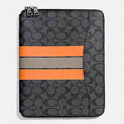 COACH TECH CASE IN VARSITY SIGNATURE - CHARCOAL/ORANGE - F66311