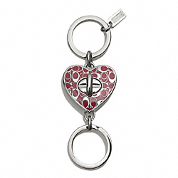 COACH F66318 Enameled Signature C Valet Key Ring