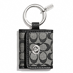 COACH F66338 - SIGNATURE PICTURE FRAME KEY RING SILVER/BLACK/WHITE/BLACK