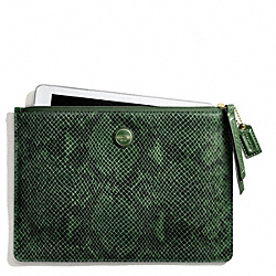 COACH F66413 Signature Stripe Embossed Snake Medium Tech Pouch BRASS/GREEN