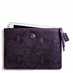 COACH F66413 - SIGNATURE STRIPE EMBOSSED SNAKE MEDIUM TECH POUCH BRASS/PURPLE