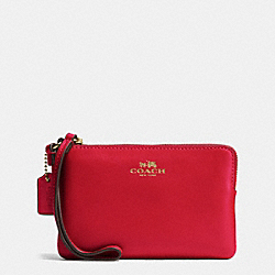 COACH F66449 Corner Zip Wristlet In Armor Leather IMITATION GOLD/CLASSIC RED