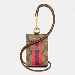 COACH F66462 - COACH VARSITY STRIPE LANYARD ID CASE IN SIGNATURE IMITATION GOLD/KHAKI/WATERMELON