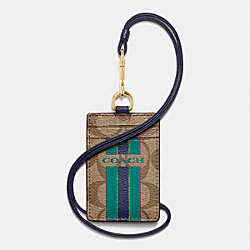 COACH F66462 - COACH VARSITY STRIPE LANYARD ID CASE IN SIGNATURE IMITATION GOLD/KHAKI/MIDNIGHT