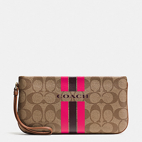 COACH f66463 COACH VARSITY STRIPE LARGE WRISTLET IN SIGNATURE IMITATION GOLD/KHAKI/PINK RUBY